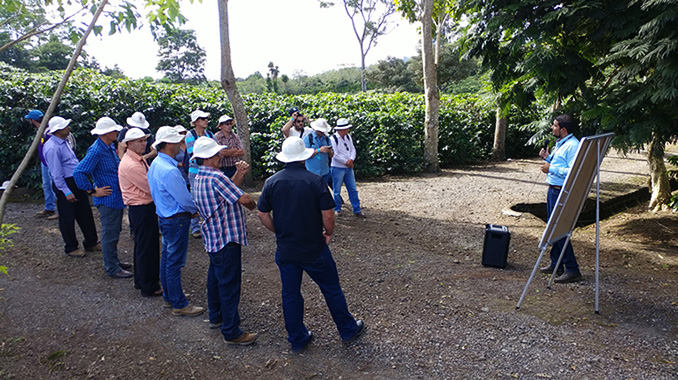 Participants from 18 different countries visit the National Coffee Institute's varietal coffee farm during the 8th Extraordinary Coffee Workshop.
